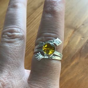 Hand Hammered Citrine Sterling Silver Ring